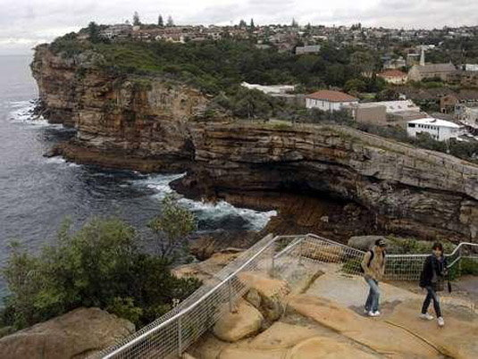 Visitors walk around a notorious suicide spot called The Gap in Sydney, Australia.